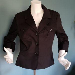 Merona Cotton Blend Black Fitted Jacket Size Large